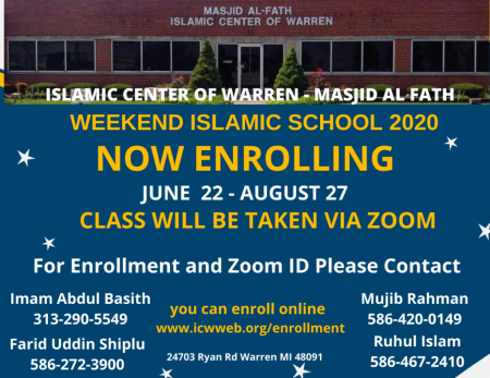 Dear Brothers and Sisters, due to Covid 19 Virus we are not arranging weekend school in our masjid this year. This year class will be taken via Zoom. Please Enroll your kids today.